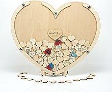 Laserano Hochzeit Gästebuch Alternative Holz-Herz
