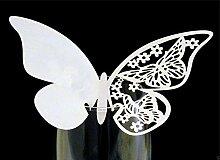 Lasergeschnitten, schimmernd, Weiß, Motiv: Schmetterling, Tabelle, Reihe, champagner/Weinglas-Hochzeit Dekoration Party-Geschenk, weiß, 110mmx70mm