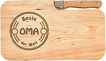 LASERHELD Brotzeitbrett Holz Erle Messer, Beste