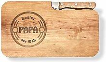LASERHELD Brotzeitbrett Holz Erle Messer, Bester
