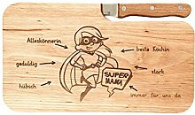 LASERHELD Brotzeitbrett Holz Erle Messer Supermama