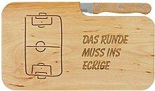 LASERHELD Brotzeitbrett Jausenbrett Fußball Holz
