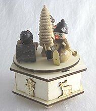 Laserholz-Spieldose mit Schneemannfiguren