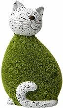 Lashuma Dekoration Dekofigur Katze - Gartendeko in Steinoptik mit grüner Beflockung - Gartenskulptur 25 cm