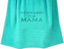 """Lashuma Geschenkidee Mama: Duschtuch """"Reserviert für Mama"""" besticktes Handtuch Türkis 70x140 cm"""