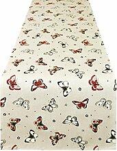 Lashuma Tischläufer 150 x 45 cm | rot - beige | Runner | Tischband lang | Läufer für Küchentisch aus 100% Baumwolle