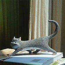 LASISZ Glückliche Katze Tierfigur Miniatur Fee