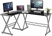 LASUAVY Computer-Schreibtisch, L-förmig, große