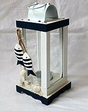 Laterne 23cm maritim dekoriert mit 2 Holzfischen Teelicht Windlicht STRAND