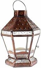 Laterne 27 cm aus Kupfer Gartenlaterne Windlicht Kerzenhalter Grablampe