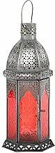 Laterne Aila 30cm orientalisches Windlicht indische Glaslaterne bunte Gartenlaterne (1, rot)
