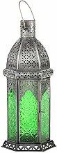 Laterne Aila 30cm orientalisches Windlicht indische Glaslaterne bunte Gartenlaterne (1, grün)