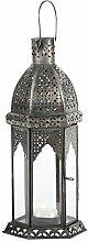 Laterne Aila 30cm orientalisches Windlicht indische Glaslaterne bunte Gartenlaterne (1, klar)
