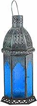 Laterne Aila 30cm orientalisches Windlicht indische Glaslaterne bunte Gartenlaterne (1, blau)