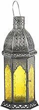 Laterne Aila 30cm orientalisches Windlicht indische Glaslaterne bunte Gartenlaterne (1, gelb)