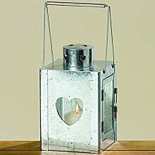 Laterne aus Metall mit Herz in Zink silber Höhe: 32cm Windlicht Zinklaterne
