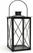 Laterne aus Metall und Glas - Windlicht Farbe schwarz - Tischlaterne Kerzenhalter Kerzenständer Gartenlaterne Gartenbeleuchtung Dekoration
