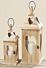 Laterne braun aus Holz Jules Herz Windlicht zum Aufhängen Weihnachten Gartendeko 2er Se