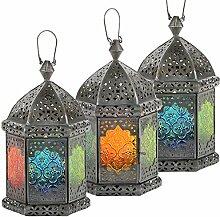 Laterne Faiza 25cm orientalisches Windlicht indische Glaslaterne bunte Gartenlaterne (3er-Set)