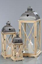 Laterne H 59 cm BRISTROL Kiefer/Metall/Glas