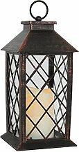 Laterne H28cm mit LED Kerze mit Flacker-Effekt Laterne Windlicht Gartenlaterne Kerzenhalter Gartenbeleuchtung Dekoration - Kupfer (Antik-Optik)