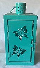 Laterne Metall Schmetterling motiv aqua blau 25 cm