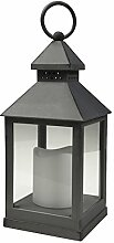 Laterne mit LED-Flackerkerze, 24 cm