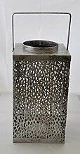 Laterne Purley Metall silber 35cm 74442 Dekoidee Sommer Winter Wohndeko Geschenkidee