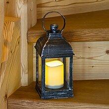 Laterne schwarz Antik-Look viereckig H24 cm mit LED-Kerze, warmweißes Licht, Flackerlicht, Batterie, mit Fernbedienung, Innenbereich