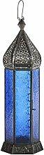 Laterne Shaki 40cm orientalisches Windlicht indische Glaslaterne bunte Gartenlaterne (blau)