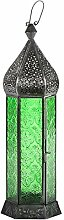 Laterne Shaki 40cm orientalisches Windlicht indische Glaslaterne bunte Gartenlaterne (grün)