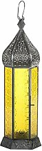 Laterne Shaki 40cm orientalisches Windlicht indische Glaslaterne bunte Gartenlaterne (gelb)