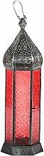 Laterne Shaki 40cm orientalisches Windlicht indische Glaslaterne bunte Gartenlaterne (rot)