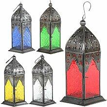 Laterne Usra 23cm orientalisches Windlicht indische Glaslaterne bunte Gartenlaterne (5, Set:weiss;gelb;blau;grün;rot)