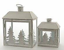 Laterne weiß antik Windlicht zum Aufhängen Weihnachten Gartendeko Metall 2er Se