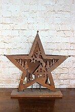 Laterne Windlicht Kerzenhalter Metall Rost Deko Adventskranz Stern (29 x 23)