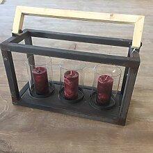 Laterne Windlicht Kerzenhalter Metall Rost Deko mit Holzgriff 3 Gläser