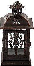 Laterne Windlicht Metall Gartendeko Kerze Teelicht mit Verzierung schwarz rost. Von Haus der Herzen®
