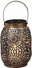 Laterne Windlicht Metall Haus Gartendeko Teelicht Kerze mit Ornament-Verzierung - Von Haus der Herzen®