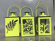 Laterne Windlicht Set Mai Grün Metall Flower Blumen Design 3 Stück