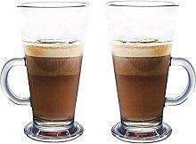 Latte Glas Tassen 2er Set mit Löffel 270ml