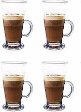 Latte Glas Tassen 4er Set 270ml perfekt für