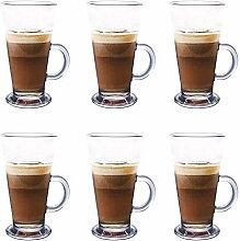 Latte Glas Tassen Set von 6 270ml perfekt für