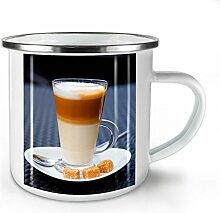Latté Kaffee Foto Essen Weiß Emaille-Becher 10 oz | Wellcoda