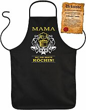 Latz- Kochschürze - Mama ist die beste Köchin! - Mütter Geschenkidee zum Geburtstag... - 100% Baumwolle one Size in schwarz mit kostenloser Geschenk-Urkunde : )