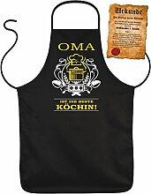 Latz- Kochschürze - Oma ist die beste Köchin! - Oma Geschenkidee zum Geburtstag... - 100% Baumwolle one Size in schwarz mit kostenloser Geschenk-Urkunde : )