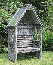 Laubenbank Bali white wash verzinkt Mahagoni Rosenbank