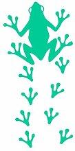 Laubfrosch Aufkleber Fußabdrücke Froschaufkleber Sticker in 8 Größen und 25 Farben (47x100cm türkis)