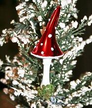 Lauschaer Glaskunst-Christbaumkugel Fliegenpilz