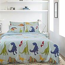 Lausonhouse Dinosaurier digitales Drucken 100% Baumwolle Bettwäsche-Set - 155x220